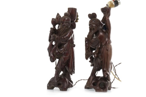 Lot 1077 - PAIR OF EARLY 20TH CENTURY CHINESE CARVED...