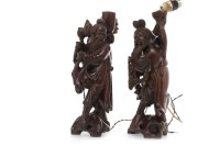 Lot 1077-PAIR OF EARLY 20TH CENTURY CHINESE CARVED...