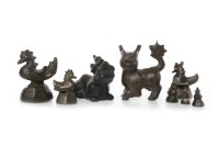 Lot 1133-COLLECTION OF EIGHT CHINESE BRONZE OPIUM WEIGHTS...