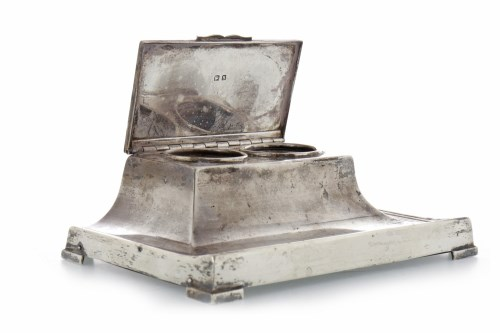 Lot 801-GEORGE V SILVER DOUBLE INKWELL maker Adie...
