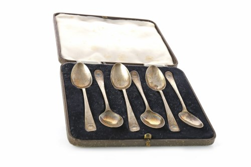 Lot 811-SET OF SIX GEORGE V SILVER TEASPOONS maker...