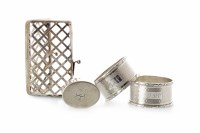 Lot 836-PAIR OF MID 20TH CENTURY SILVER NAPKIN RINGS...