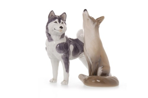 Lot 1212-ROYAL COPENHAGEN FIGURES OF A HUSKY AND OF A FOX...