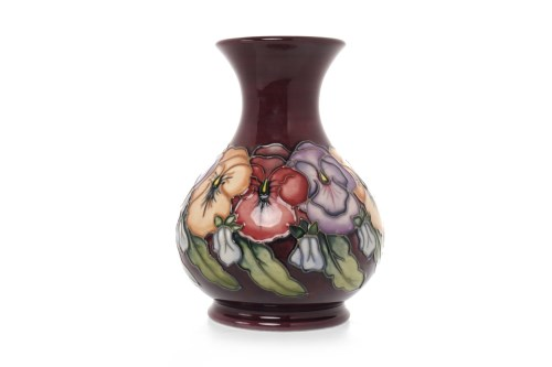 Lot 1216-CONTEMPORARY MOORCROFT 'PANSY' PATTERN VASE of...