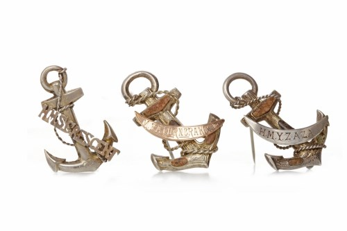 Lot 512-THREE SILVER SWEETHEART BROOCHES each in the form ...