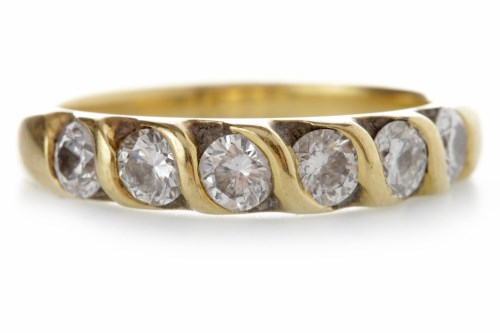 Lot 531-DIAMOND SIX STONE RING set with graduated round...