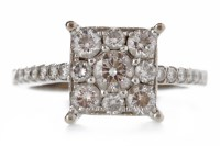 Lot 533-DIAMOND DRESS RING the square bezel 8.6mm wide...