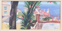 Lot 9-* ARCHIE FORREST RGI, VIEW FROM BALCONY gouache...