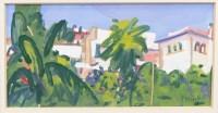 Lot 11-* ARCHIE FORREST RGI, PALM TREES gouache on paper,...