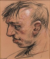 Lot 173-* PETER HOWSON OBE, PROFILE pastel on paper,...
