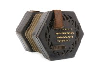 Lot 1405-19TH CENTURY CONCERTINA black lacquered finish,...