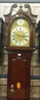 Lot 1418-EDWARDIAN LONGCASE CLOCK the pillared hood with...