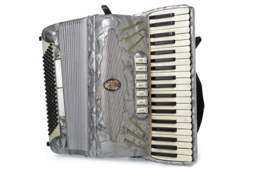 Lot 1420-CRUCIANELLI PIANO ACCORDIAN grey marbled finish,...