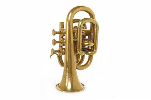 Lot 1421-BRASS 'POCKET' TRUMPET BY BESSONS & CO. serial no....