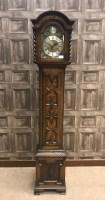 Lot 1427-OAK CASED GRANDMOTHER CLOCK OF CHARLES II DESIGN...
