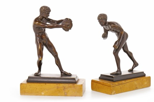 Lot 1617 - PAIR OF SMALL GRAND TOUR BRONZES OF ATHLETES...