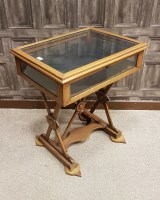 Lot 1620-STAINED PINE OBLONG BIJOUTERIE TABLE the hinged...