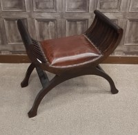Lot 1626-MAHOGANY 'X' FRAME DRESSING STOOL with a padded...