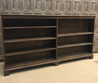 Lot 1657 - MAHOGANY DWARF OPEN BOOKCASE OF GEORGE III...