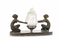 Lot 1666 - ART DECO BRONZED SPELTER FIGURAL TABLE LAMP...