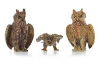 Lot 1679 - TWO AUSTRIAN COLD PAINTED BRONZE OWLS both...