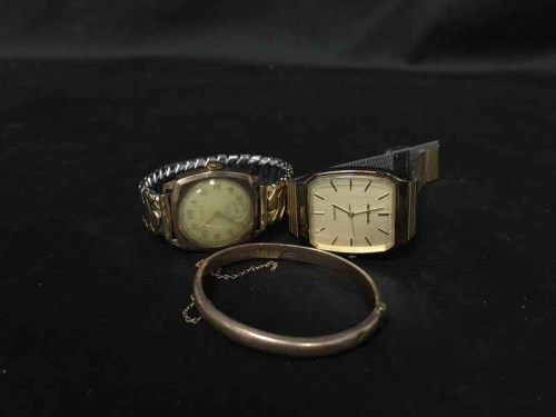Lot 16-COLLECTION OF COSTUME WATCHES including a 9ct...