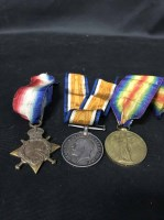 Lot 17-THREE WORLD WAR ONE SERVICE MEDALS