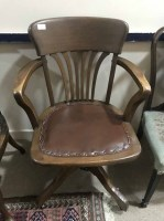 Lot 45-GATE BACK OAK REVOLVING DESK CHAIR with leather...