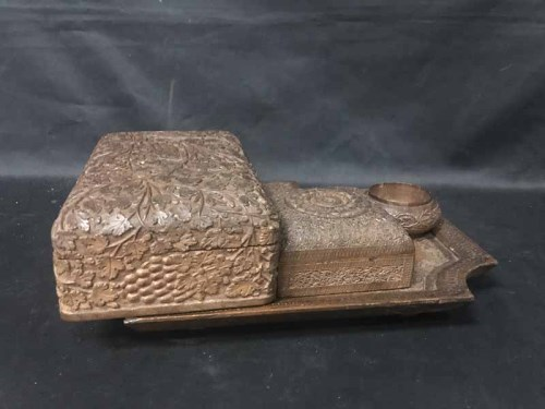 Lot 54-INDIAN CARVED WOOD TRAY along with two caskets,...