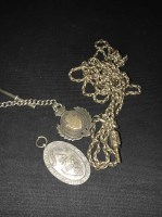 Lot 55-STERLING SILVER ALBERT CHAIN with fob; along with ...