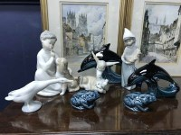 Lot 62-FOUR LLADRO FIGURES including animals and...