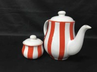 Lot 67-ITALIAN ORANGE AND WHITE STRIPED COFFEE SERVICE...