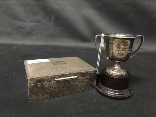 Lot 68-LATE 20TH CENTURY SILVER CIGARETTE BOX of...