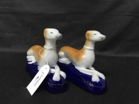 Lot 86-PAIR OF STAFFORDSHIRE GREYHOUNDS