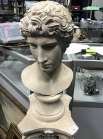 Lot 106-REPRODUCTION ROMAN STYLE BUST WITH COLUMN PLINTH