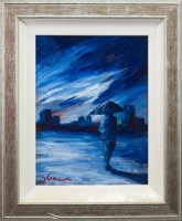 Lot 65-* J P MCLAUGHLIN, IN THE CITY oil on canvas,...
