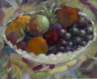 Lot 156-* LIZ MCCARTHY, FRUIT WITH JAZZY CLOTH oil on...