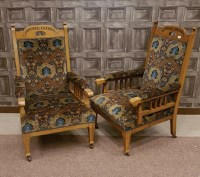 Lot 1623-ATTRACTIVE PAIR OF LATE VICTORIAN OAK OPEN ARM...