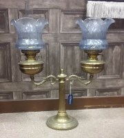 Lot 1647-VICTORIAN BRASS DOUBLE OIL LAMP with two...