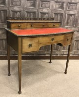 Lot 1708-MAHOGANY BOW FRONT WRITING DESK OF GEORGE III...