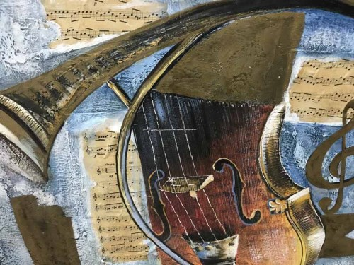 Lot 1 - M VARLEY, MUSICAL COLLAGE mixed media on...