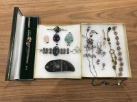 Lot 4-COLLECTION OF SILVER AND COSTUME JEWELLERY...