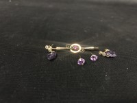 Lot 12-EDWARDIAN NINE CARAT GOLD GEM SET BAR BROOCH...