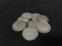 Lot 14-EIGHT SILVER HALF CROWNS dates including 1920