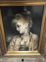 Lot 18-DECORATIVE PRINT OF A YOUNG GIRL in gilt frame
