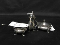 Lot 23-SILVER THREE PIECE CRUET SET
