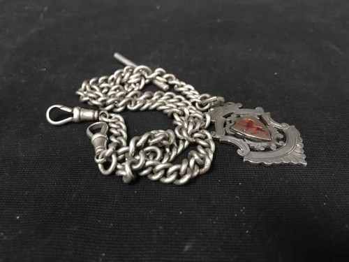 Lot 26-SILVER DOUBLE ALBERT CHAIN with silver shield...