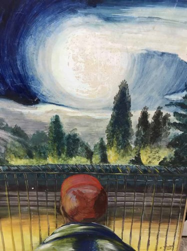 Lot 31 - E RHODES, MOON GAZER oil on board, signed and...